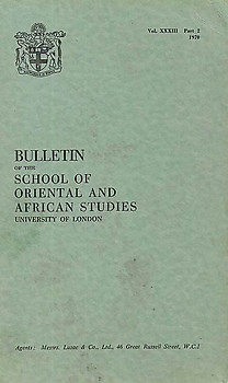 Bulletin of The School of Oriental and African Studies XXXIII Part 2 (1970)