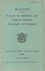 Bulletin of The School of Oriental and African Studies XXVIII Part 3 (1965)