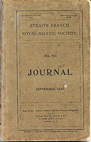 Journal of the Straits Branch of the Royal Asiatic Society No 82 September 1920
