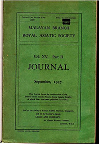 Journal Volume XV Pt II - September 1937 - Malayan  Branch of the Royal Asiatic